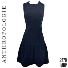 Load image into Gallery viewer, Anthropologie Dress Blue Mini Minidress Sleeveless Drop Waist Ganni Size Medium