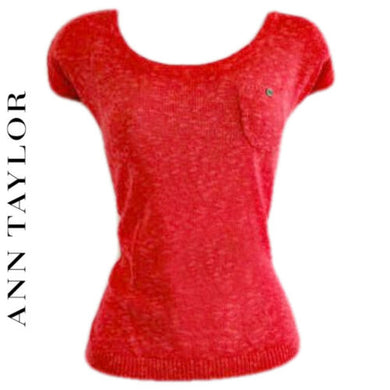 Ann Taylor Top Red Linen Cap Sleeve Pocket Tee Tshirt Blouse Loft Size Medium