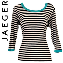 Load image into Gallery viewer, Jaeger Top Striped Tee Teeshirt Shirt Stripes Stretch Three Quarter Size Large