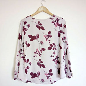 Floral Purple Top Jacques Vert New Pink Pastel Lavender Long Sleeve Size Small