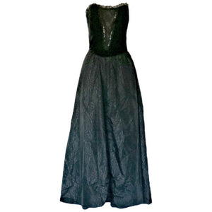 Vintage Formal Dress Black Goth 80s Ronald Joyce Long Maxi Size Small