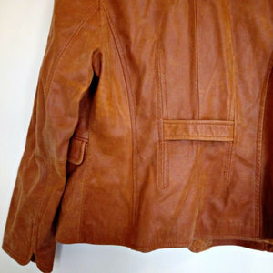 Leather Jacket Orange Tan Brown Rino Pelle Italian One Button Size Medium
