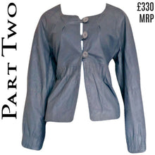 Load image into Gallery viewer, Leather Jacket Grey Part Two Buttons Button Truly Girly Peasant Boho Size Medium