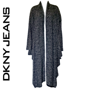 DKNY Cardigan Draped Shawl Open Wrap Wrapped Drape Grey Long Size Large