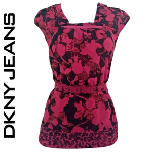 DKNY Top Pink Blouse Peplum Black Red Fitted Waist Hourglass Petite Size Small