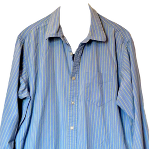 Blue Striped Shirt Mens Relaxed Stripes Yellow Button Up Size Large