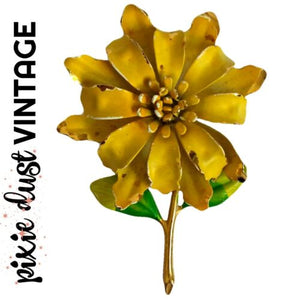 Antique Brooch Enamel Flower Art Noveau Floral Pin Vintage Costume Gold Yellow