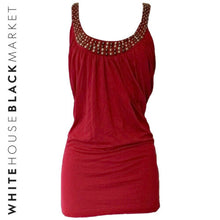 Load image into Gallery viewer, White House Black Market Top Beaded Embellished Sleeveless Red Blouse Size XL