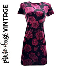 Load image into Gallery viewer, Vintage Velvet Dress 90s 00s Y2K Grunge Roses Sparkly Sparkles Floral Size Small