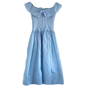 Vintage Dress Blue Cinderella Formal 80s Maxi Baby Periwinkle Size XS