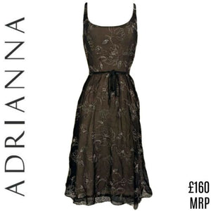 Adrianna Dress Silk Black Papell Belt Tissue Special Occasion Formal Size Small