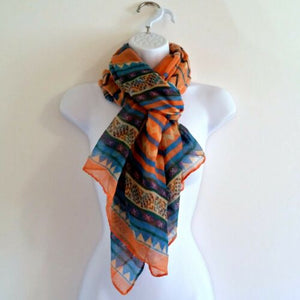 Coral Orange Scarf Large Ethnic Tribal Inspired Wrap Blue Patterned