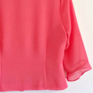 Vintage Pink Top 80s Lightweight Bell Sleeve Blouse Retro Buttons Size Small