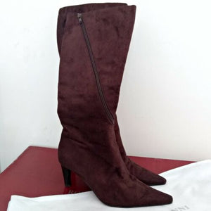 Brown Tall Boots Leather Lined Roberto Vianni Brown Zipper Heeled Pointed 6 7