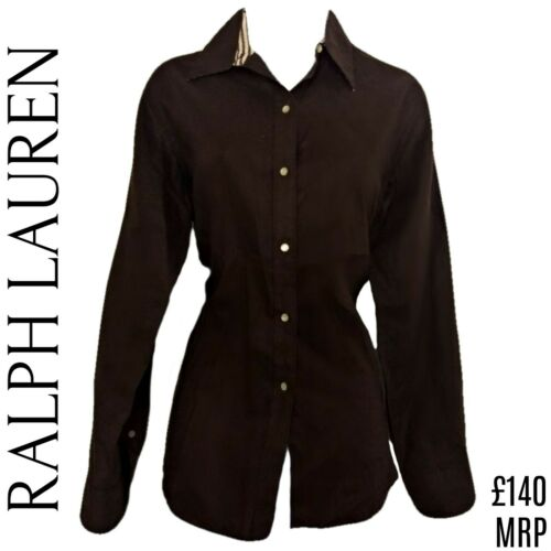 Ralph Lauren Top Linen Shirt Brown Button Down New Buttons Roll Tab Size Medium