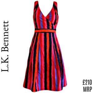 LK Bennett Dress Striped Stripes Knee Length Bold Colourful Sleeveless Size XS