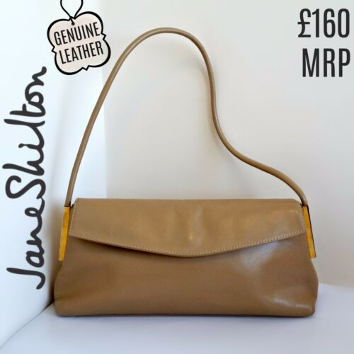 Leather Tan Handbag Jane Shilton Baguette Beige Brown Neutral Envelope