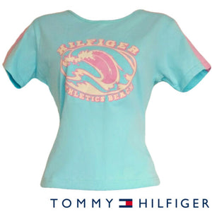 Tommy Hilfiger Top Tee Tshirt Blue New Pastel Beach Athletics Size Medium
