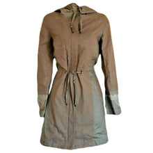 Load image into Gallery viewer, Tan Hooded Coat Trench Linen Anorak Sparkle Hood Jacket Scandinavian Size Small