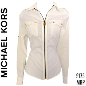 Michael Kors Top Shirt White Zipper Exposed Zipped Zip Designer Sheer Size Small