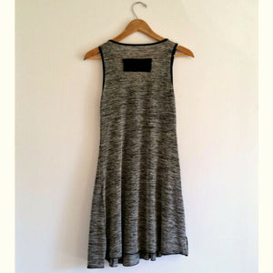 Vintage Dress 90s Grunge Slinky 1990s Unique Black Stretch Mini Grey Size Small