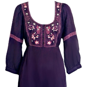 Purple FatFace Dress Boho Hippy Indian India Pink Embroidered Size Medium