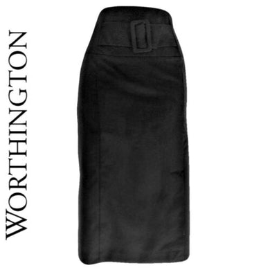 Black Pencil Skirt Wiggle Midi Slit Belt Belted Worthington Skinny Size Medium