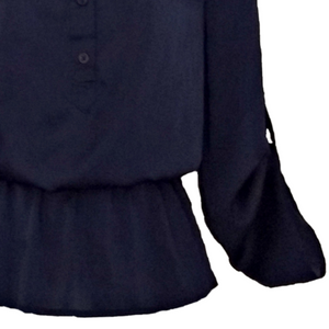 Michael Kors Top Navy Blue Silky Satin Peplum Blouse Size XS