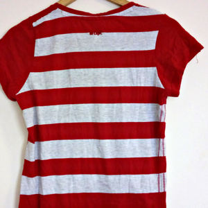 Lee Cooper Tee Shirt Striped Top Tshirt Red Grey Size Medium