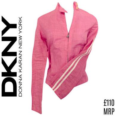 DKNY Jacket Pink White Stripe Sleeves Stripes Zip Zipper Sporty Size Small