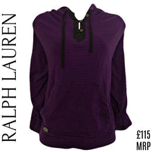 Load image into Gallery viewer, Ralph Lauren Top Hoodie Striped Purple Oversized Pockets Stripes Hood Size Large