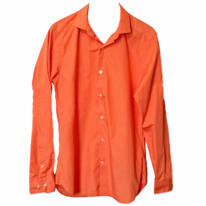Orange Coral Shirt Slim Mens Button Ventuno 21 Work Formal Fitted Size Small