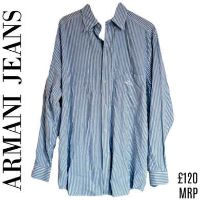 Armani Shirt Men Striped Button Up Blue Mens Cotton Designer Stripe Size XL