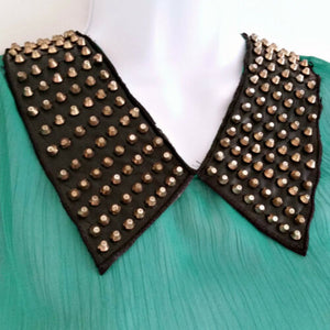 Studded Spike Top Collar Green Emerald Imitation Leather Trapeze Size Medium
