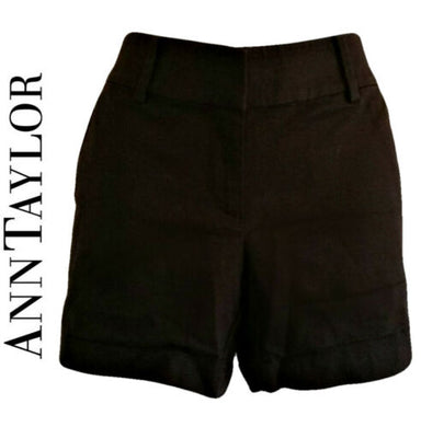 Black Shorts Dressy Tailored Ann Taylor City Short New Unworn Cuffed Size XS