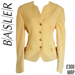 Basler Yellow Blazer Jacket Wool Collarless Nautical Horst Suit Size Medium