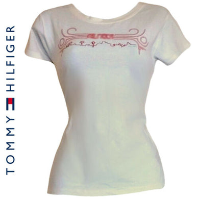 Tommy Hilfiger Top Tee Shirt Teeshirt Sport Casual Tshirt Cream Size Medium