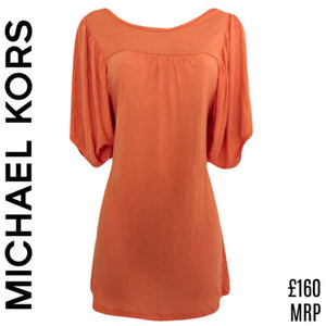 Michael Kors Top Dress Tunic Orange Pastel Long Half Sleeves Size Small