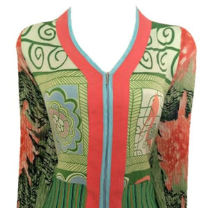 Alberto Makali Top Zipped Blouse Stretch Zipper Retro Green Coral Size Large
