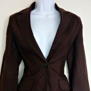 Brown Linen Blazer Fitted Jacket Hip Length Long Flare Bell Sleeve Size Small