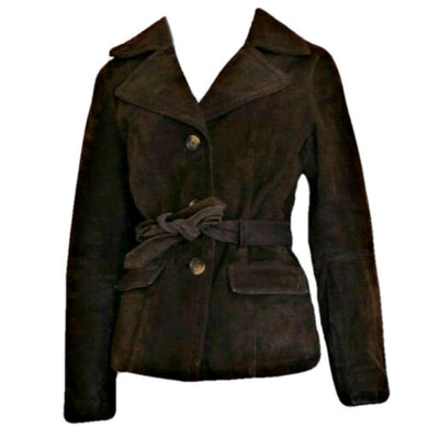 Brown Leather Jacket Suede Belted Pockets Belt Tie Coat Safari Lined Size Small