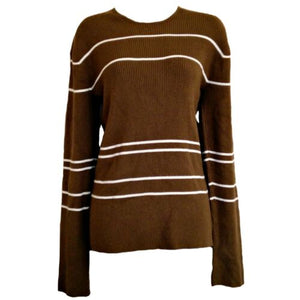Armani Exchange Jumper Striped Stripes Ribbed Brown Size Large