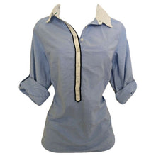 Load image into Gallery viewer, Tommy Hilfiger Top Shirt Tunic Blue Blouse Roll Cuff Collared Size Large