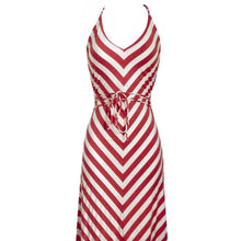 Load image into Gallery viewer, Striped Maxi Dress Cynthia Rowley Stripes Pink Coral Stripe Chevron Size XS