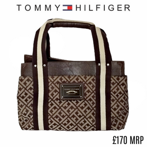 Tommy Hilfiger Bag Hand Handbag Logo Brown Classic Small