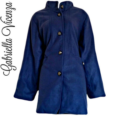 Blue Coat Jacket Long Lightweight Gabriella Vicenza Italian Italy Size Large