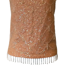 Load image into Gallery viewer, Vintage Beaded Top 60s Flapper Style Pink Sleeveless Fringed Sequin Size Small