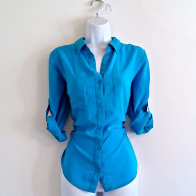 Blue Button Up Turquoise Blouse Shirt Top Size Medium