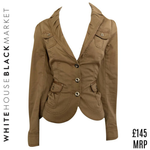 White House Black Market Jacket Tan Beige Silver Buttons Size Small
