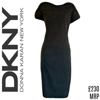 DKNY Dress Grey Shift Charcoal Donna Karan New York Midi Mid Size Small
